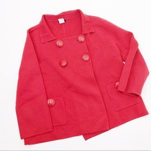J. Crew Red Button Front Sweater Jacket - Size M